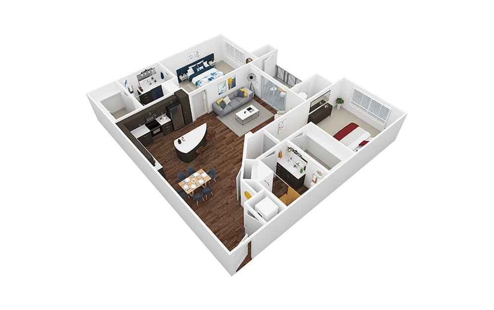 Avalon - 2 bedroom floorplan layout with 2 baths and 1167 to 1192 square feet.