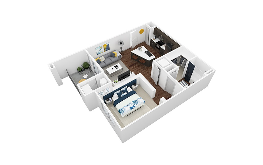 Granite - 1 bedroom floorplan layout with 1 bath and 694 square feet.
