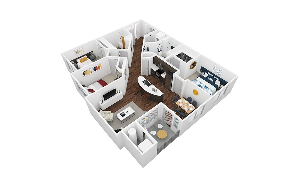 Limestone - 3 bedroom floorplan layout with 2 baths and 1340 square feet.