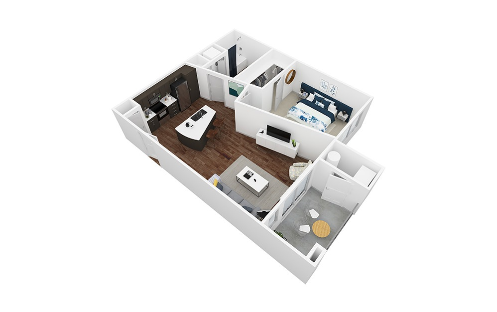 Palisade - 1 bedroom floorplan layout with 1 bath and 735 square feet.