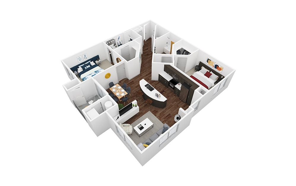 Sandstone - 2 bedroom floorplan layout with 2 baths and 1175 to 1209 square feet.