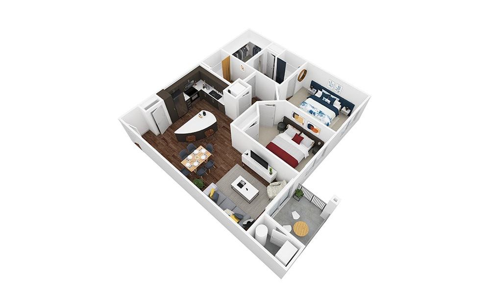 Sorrento - 2 bedroom floorplan layout with 2 baths and 1048 square feet.