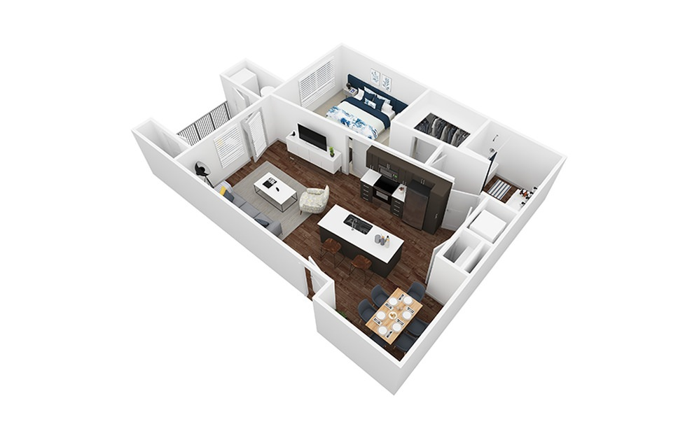 Travertine - 1 bedroom floorplan layout with 1 bath and 843 square feet.