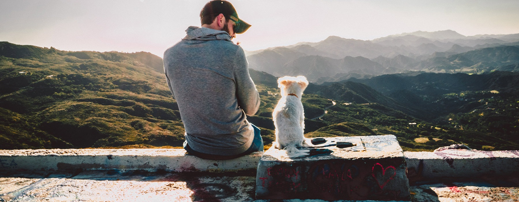 man with dog looking at mountain view